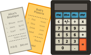 calculator and take out menu