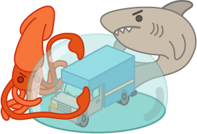 moving truck with force field surrounded by shark and squid