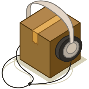 box with headphones